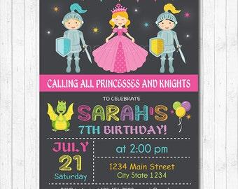Princess And Knight Birthday Invitation, Princess Invite, Knight Invitation, Dragon Invitation, Chalkboard, printable