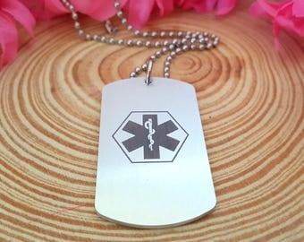 Custom Engraved Medical Alert Necklace | Medic Tag | Medical Alert ID | Medical Alert Jewelry | Front and Back Engraving
