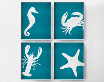 Beach Art, Beach Prints, Sea Life Prints, Sea Life Wall Art, Coastal Wall Art, Coastal Bathroom, Beach Decor, Coastal Art
