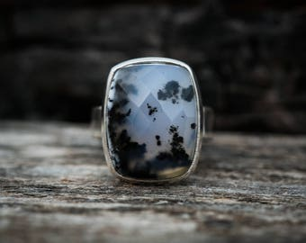 Dendritic Agate Ring - Merlinite Ring size 6.5 - Agate ring - Amazing Merlinite Agate Ring - Tree Agate Ring - Moss Agate Ring -Merlinite