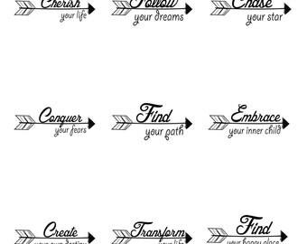 Follow Your Dreams Inspirational Arrows SVG files set for Cricut Tween Teen Mugs, T-shirts, Vinyl, Gifts