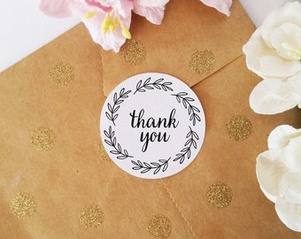 Thank You Stickers for Packaging, Round Thank You Stickers, Envelope Seals, Business Stickers, 45 Party Favor Stickers