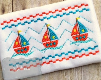Sailboat Embroidery Design - Sailboat Faux Smock - Sailboat Smock Embroidery Design - Ocean Embroidery - Summer Embroidery