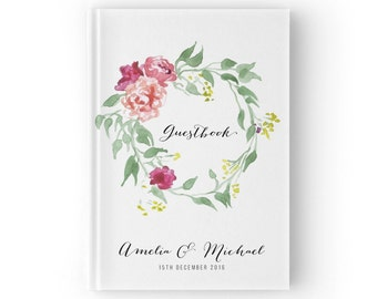 Personalized Guest Book, Wedding Floral, Watercolor Wedding Guestbook, SKU: GB 035