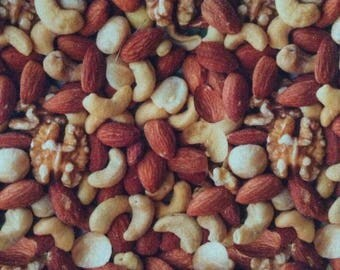 One Half Yard Piece of Fabric Material -  Mixed Nuts