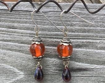 Orange Round Glass Earriings, BoHo Chic 011E