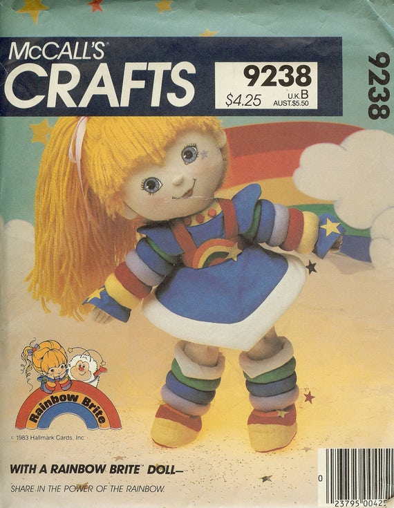 1980s Rainbow Brite doll pattern McCall's Crafts 9238