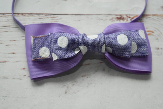 Lilac polka dot bow headband - Baby / Toddler / Girls / Kids Headband / Hairband / Hair bow / Barrette / Hairclip