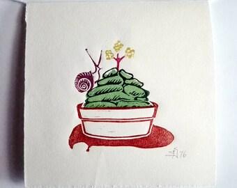 "FREE SHIPPING Worldwide, Original Handmade Multicolor Linocut Print, 6,75"" x 6,75"" hand-pulled print, cactus, snail, wall decor"