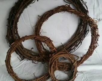 "6"" Wild Grapevine Wreaths, home grown & handmade"