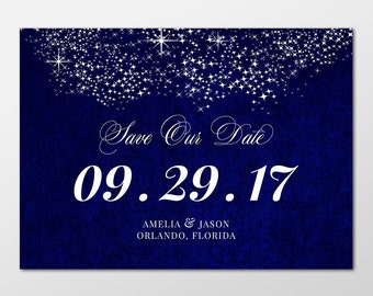 Formal, Royal Blue Save the Date Wedding Announcements, Formal Save the Date Cards, 5x7 PRINTABLE or PRINTED - Starry Starry Night