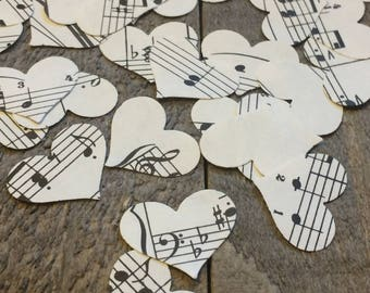 Romantic Vintage Sheet Music Heart Wedding Confetti Rustic Table Decor Decoration Scatter Centerpiece Hand Punched 100 Pieces