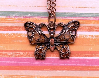 BUTTERFLY - PENDANT - JEWELRY; ornate butterfly, pink copper, 16 inch chain with 3 inch extender, Valentine's day gift, for her,