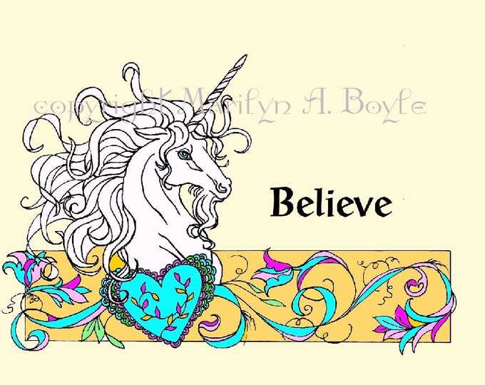 UNICORN PRINT - COLORED; digital download, For her, for child's room, wall art, card, small poster