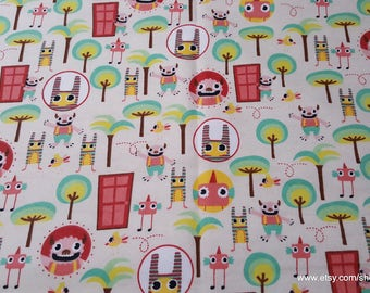 Flannel Fabric - Imaginary Friends - 1 yard - 100% Cotton Flannel