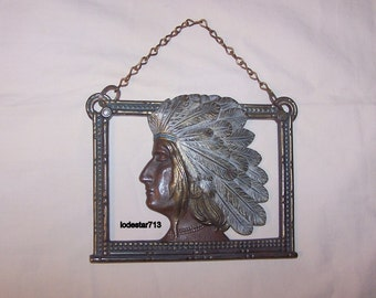 Art Deco Indian Cast Iron Wall Plaque Native American Indian Motif