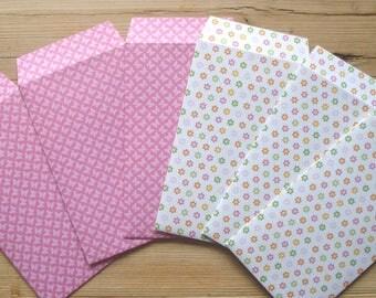 "Gift envelopes, Easter set of 6, 6x10 cm / 2.4""x3.9"", paper, handmade, pink, spring"