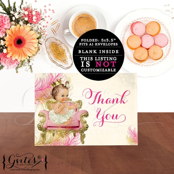 Pink baby thank you cards, princess baby shower pink gold birthday cards ribbons bows 5x3.5 INSTANT Download {Light/BRUNETTE} 2 Per/Sheet