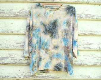 90s Vintage Floral Semi Sheer Top Grunge Tee Tie Dyed T Shirt Felt Pattern Vtg 1990s Size M
