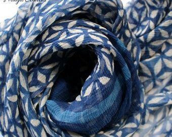 Birthday gift for her womens scarf blue chiffon scarf indigo scarves  rustic unique scarves