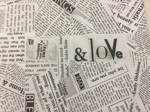 Love Inspirational Newspaper Article/Collage/Print/Letters Fabric ...