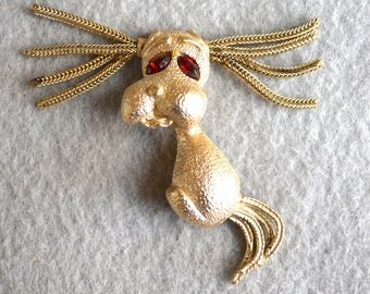 Dog Figural Brooch with Floppy Ears Vintage