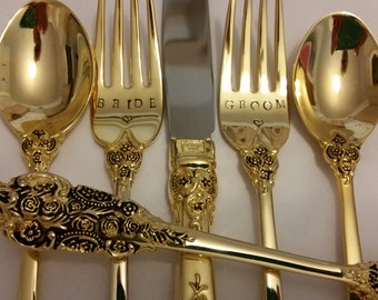 Gold flatware 5pc Cake Servers 2 Wedding Forks + 2 Spoons + 1 Knife Vintage Recycled Hand stamped Wonky BRIDE GROOM 24K Gold Plated Gatsby