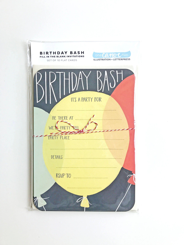 Birthday Party Invitations - Fill in the Blank Invitations - Set ...