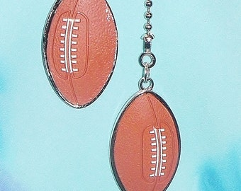 Set of Two ~ Football Sports Brown Rubber Metal ~ Ceiling Fan Pulls