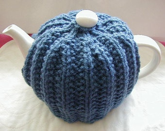 Hand Knitted Tea Cosy In Aran Colour Blue