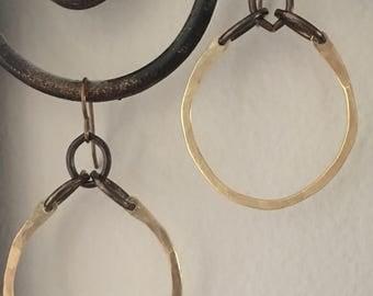 Brass hoop and chain earrings