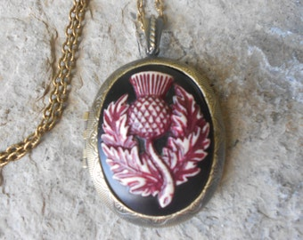 Choose Bronze or Antique Silver - Scottish Thistle Cameo (hand painted burgundy, maroon, wine ) Bronze Locketd - Antiqued Look
