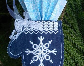 Christmas ~ Holiday ~ Wreath ~ Decoration ~ Mitten Ornament Machine Embroidered White Snowflake on Reclaimed Navy Denim