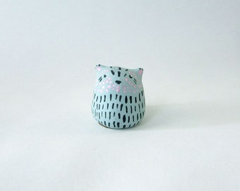 Chubby Striped Kitty Cat / Miniature Polymer Clay Animal Totem / collectible, figurine, tiny