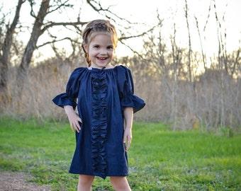 Dress - Girls Dress - Peasant Dress - Baby Dress - Denim Dress - Denim Girl Dress - Toddler Dress - Ruffle Dress - Fall Dress - Spring Dress