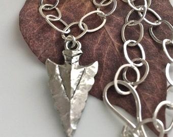 Short Sterling Silver Necklace / Choker Length Necklace / Silver Arrowhead Necklace / Pewter Arrowhead Pendant
