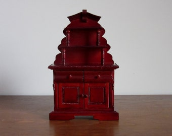 Vintage Asian Decor Doll House Hutch, Wood Dollhouse Furniture,Dark Cherry Red Stain,Drawers,Shelves,Cabinet,Dining Rm,Chinese,Sutter Street