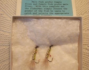 Two Handtied Flies Male and Female Fly Fishing Hooks for the Fisherman who has it All  Made in Montana USA  FREE SHIPPING