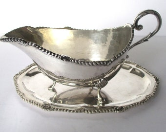 Antique 900 Silver - Coin Silver -  Salver & Sauce Boat