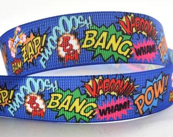 "Action Pow Zap Bam Bright Blue Wham Bang Comic Book Action Printed Grosgrain Ribbon 1"" Wide AZ532"
