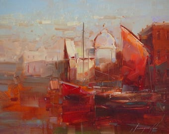 Venice, Cityscape, Oil painting, Impressionism, handmade art, One of a kind