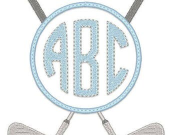 Personalized Golf Clubs Monogram Applique Shirt or Onesie Boy or Girl