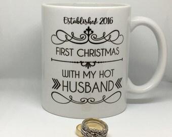 First Christmas Mug // hot wife  // hot husband // First Christmas Married Gift // christmas coffee mug // 1st christmas // christmas gift