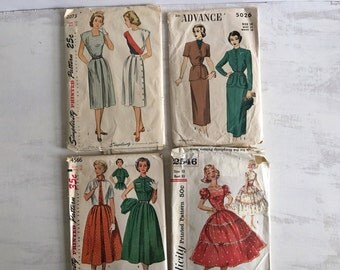 A Bundle of 4 Old Sewing Patterns for Ladies Dresses
