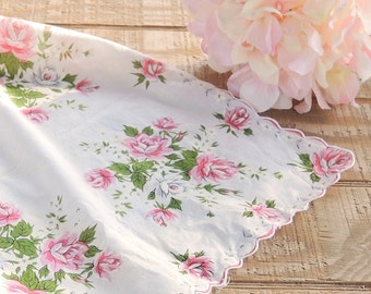 Pink Roses and White Vintage Cotton Scalloped Edges Hankie, Weddings Bridesmaid Gift  Something Old