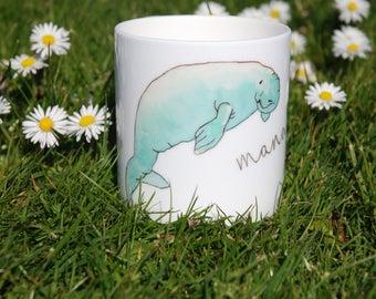 Beautiful handpainted watercolour china mug with mantee design
