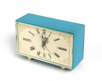 Vintage Alarm Clock Slava, made by Soviets. USSR made authentic alarm clock, mid century mechanical clock, rustic home decor