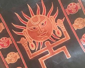 Mayan Sun Embossed Tribal Ethnic Design Handbag Tooled Hippy Hippie Boho Bag