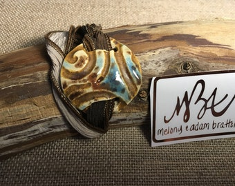 Blue/brown with brown accent pottery wrap bracelet