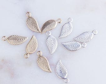 Small Leaf Charm in Sterling Silver OR 14K Gold Filled, 5 Pieces per Bag, Lightweight, Thin Leaf Charms, Right or Left Side Leaf, HCIN213